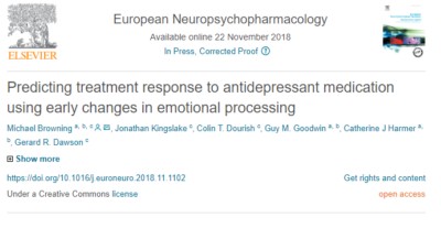 European Neuropsychopharmacology article talks about predicting treatment response