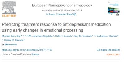 European Neuropsychopharmacology article talks about predicting treatment response